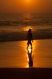 Outing at the seaside. This is a sundown on the ocean coast. Woman has outing at the seaside Stock Image