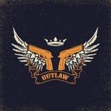 outlaw Δύο περίστροφα στο υπόβαθρο grunge ελεύθερη απεικόνιση δικαιώματος