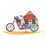 Outlaw Biker Club Member With Long Beard And Tattooes Standing Next To Heavy Chopper In Leather Vest. Vector Illustration With Beardy Dangerous Looking Biker Royalty Free Stock Image