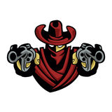 Outlaw Cowboy .Skull With Revolver Royalty Free Illustration