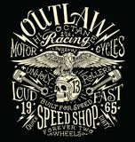 Outlaw Motors Vintage T-shirt Graphic royalty free illustration