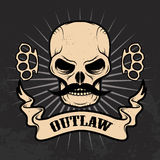 Outlaw. Skull with moustache. On grunge background. T-shirt print template Stock Image