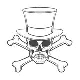 Outlaw skull with mustache, high hat. And crossbones portrait. Crossbones head hunter logo template. Steampunk rover t-shirt insignia design Royalty Free Stock Photo