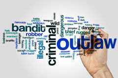 Outlaw word cloud. Concept on grey background Royalty Free Stock Photos