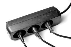 Outlet. Black outlet isolated on white stock photos