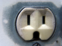 Outlet. Macro shot of a electrical outlet royalty free stock photos