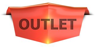 Banner outlet. Outlet 3D rendered red banner , isolated on white background Royalty Free Stock Photos