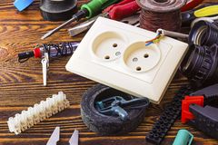 Outlet and electrical tools Stock Photo