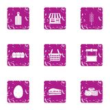 Outlet icons set, grunge style. Outlet icons set. Grunge set of 9 outlet vector icons for web isolated on white background Stock Image