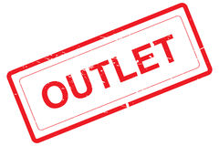Outlet. Illustrated word Outlet in red letters on plain white background Stock Photo