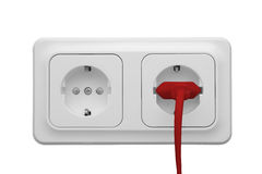 Outlet with power cord Stock Photo