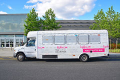 Outlet shuttle bus service. A common service provided to attract more customers and cater increasing revenue from international tourism royalty free stock images