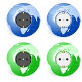 Outlet socket world globe Stock Image