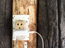 Outlet and switch on the background of wooden wall Royalty Free Stock Photo