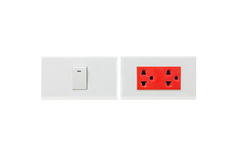 Outlet switch and red plug Stock Images
