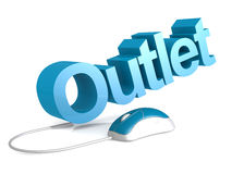 Outlet word with blue mouse Stock Photography