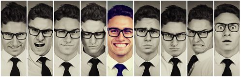 Outlier που ξεχωρίζει τον τύπο Το ευτυχές άτομο μεταξύ ματαιωμένος, λυπημένος, απελπισμένος, τονίστηκε Θετική έννοια σκέψης στοκ φωτογραφία με δικαίωμα ελεύθερης χρήσης