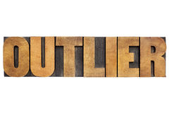 Outlier word in wood type Royalty Free Stock Image