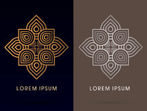 Outline Abstract, luxury Lotus. Illustration graphic vector Stock Photography
