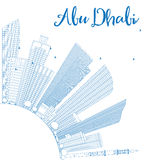 Outline Abu Dhabi City Skyline with Blue Buildings and Copy Spac Stock Photo