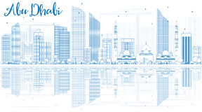 Outline Abu Dhabi City Skyline with Blue Buildings and Reflectio Stock Image