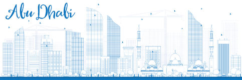 Outline Abu Dhabi City Skyline with Blue Buildings. Royalty Free Stock Images