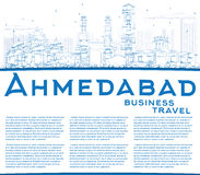 Outline Ahmedabad Skyline with Blue Buildings and Copy Space. Stock Photography