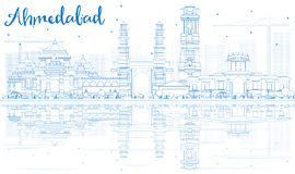 Outline Ahmedabad Skyline with Blue Buildings and Reflections. Royalty Free Stock Image