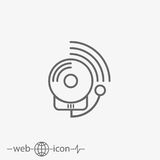 Outline alarm fire vector icon. On grey background Stock Image