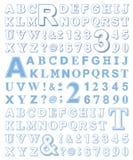 Outline alphabet and symbols set in light blue Stock Photos