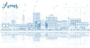 Outline Ames Iowa Skyline with Blue Buildings and Reflections. vector illustration