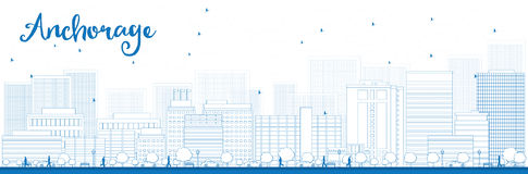 Outline Anchorage (Alaska) Skyline with Blue Buildings Royalty Free Stock Image