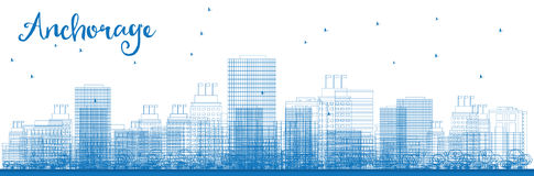 Outline Anchorage (Alaska) Skyline with Blue Buildings. Royalty Free Stock Photography