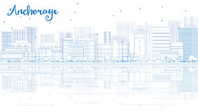 Outline Anchorage skyline with blue buildings. Royalty Free Stock Photography