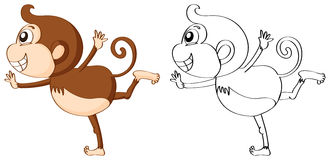 Outline animal for cute monkey Royalty Free Stock Photography