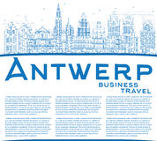 Outline Antwerp Skyline with Blue Buildings and Copy Space. Royalty Free Stock Image