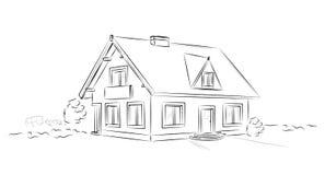 Outline architectural sketch detached tarditional house - vector concept. Outline architectural black and white sketch detached tarditional house - vector royalty free illustration