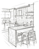 Outline architectural sketch of modern kitchen interior. Stock Images