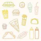 Outline astfood cartoon set. Vector EPS10 hand drawn set of fastfood meals Royalty Free Stock Photos