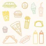 Outline astfood cartoon set. Vector EPS10 hand drawn set of fastfood meals royalty free illustration