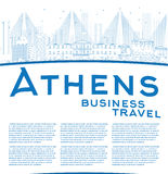 Outline Athens Skyline with Blue Buildings and copy space Royalty Free Stock Photos