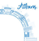 Outline Athens Skyline with Blue Buildings and copy space Stock Image