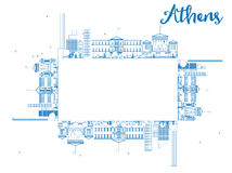 Outline Athens Skyline with Blue Buildings and copy space Royalty Free Stock Photography
