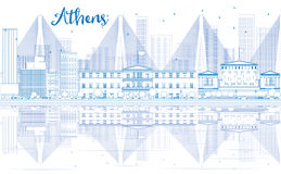 Outline Athens skyline with blue buildings and reflections. Royalty Free Stock Photos