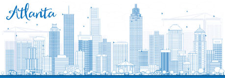 Outline Atlanta Skyline with Blue Buildings. Royalty Free Stock Images