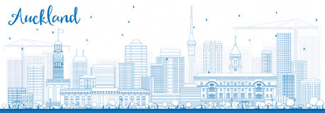 Outline Auckland Skyline with Blue Buildings. Stock Images