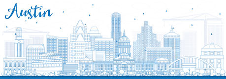 Outline Austin Skyline with Blue Buildings. Vector Illustration. Business Travel and Tourism Concept with Modern Architecture. Image for Presentation Banner Royalty Free Stock Photo