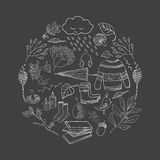 Outline autumn elements. Vector handdrawn outline autumn elements made in circle on blackboard. Vector illustration Vector Illustration