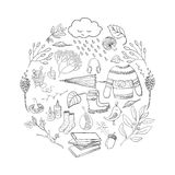 Outline autumn elements. Vector handdrawn outline autumn elements made in circle on white background. Vector illustration Royalty Free Illustration