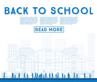Outline Back to School. Banner with School Bus, Building and Stu Royalty Free Stock Photos
